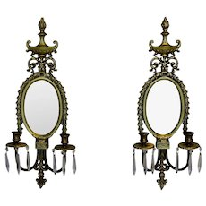 Set of Antique Gilt Bronze Candle Sconce, Mirror, Girandoles
