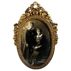 Antique Bronze Bow Top Photo Frame with Easel