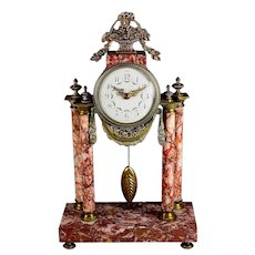 Antique French Rose Marble and Bronze Dore Pillar Mantel Clock