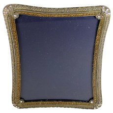 Vintage Gilded Metal Photo Frame Rhinestone Corners