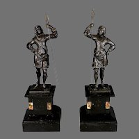 Pair Antique Spelter 17th Century Warrior Statues Marble Bases