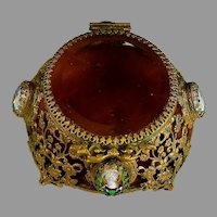Vintage Ormolu Jewelry Casket Box, Beveled Glass Lid, Cameos