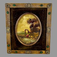 19th Century Oval Miniature Painting in Ornate Frame