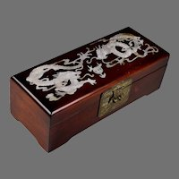 Vintage Chinese Hardwood Box with Mother of Pearl Inlaid Facing Dragons