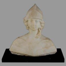 Antique Alabaster Marble Bust of Jeanne D'Arc