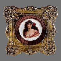 Vintage Austrian Portrait Plate with Ornate Frame B Signed