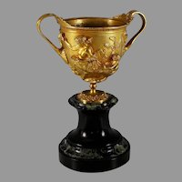 Bronze Napoleon III Repousse Two Handled Coupe or Cup, Marble Base