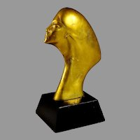 Mid Century Abstract Female Bronze Bust Sculpture 13 1/4""