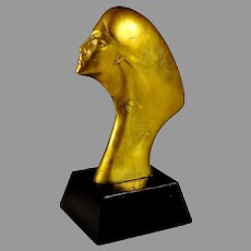"""Mid Century Abstract Female Bronze Bust Sculpture 13 1/4"""""""