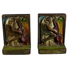 """Pompeian (Pompeiian)Cold Painted Bronze Company Bookends """"The Cellist""""  #108"""