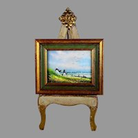 Original Charles Parthesius Enamel On Copper Painting Picnic At Sea