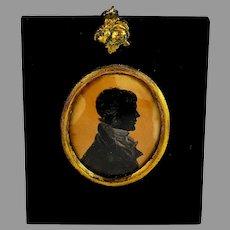 Antique Framed Painted Silhouette Portrait Miniature Gentleman