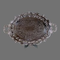 """Vintage 30"""" Sculpted Floral Silver Plate Platter Tray"""