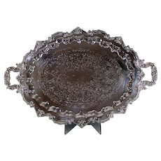 "Vintage 30"" Sculpted Floral Silver Plate Platter Tray"