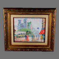 Impressionist Oil Painting of Paris Street Scene Signed