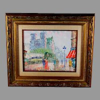 Impressionist Oil Painting of Paris Street Scene Signed