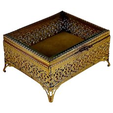 Fine Ormolu Trinket Jewelry Casket Beveled Glass Top