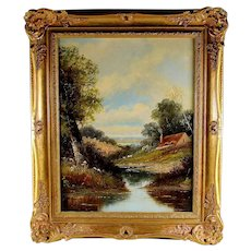 English School Landscape Oil Painting Signed