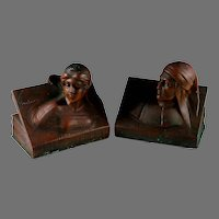 Early Jennings Bros. Bronze Clad Bookends Dante and Beatrice
