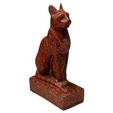 Old Egyptian Cat Bastet Bast Statue Sculpture Porphyry Marble