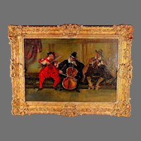 Continental School Oil on Canvass Genre Scene of Three Musicians