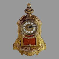 Antique Brass & Rose Marble Imperial Mantle Clock Franz Hermle Germany