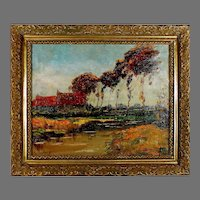 French School Impressionist Landscape Painting signed