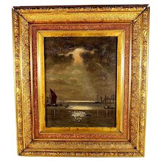 Tonalist Oil Painting of a Harbor