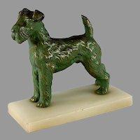 Vintage Terrier Dog Bronze Sculpture on Alabaster Base Great Patina