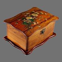 Antique French Handpainted Wood Dresser Box