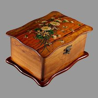 Antique French Handpainted Wood Dresser Box