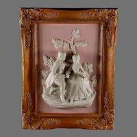 Alt Meissen Art Dresden Relief Plaque of Couple B