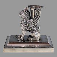 Vintage Bronze Griffon Sculpture Lion Wings Griffin Gryphon