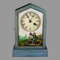 Antique Mantel Clock c. 1890 Eglomise Glass Wood Just Serviced
