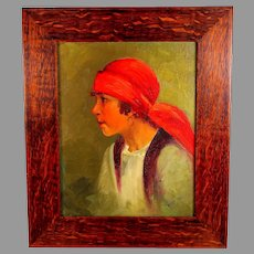 Oil Painting of a Girl with Red Scarf and Earring signed Tiger Oak Frame