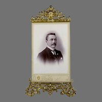 Antique Gilded Repousse Brass Picture Frame with Photo