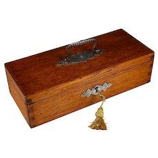 Antique Hinged Oak Box with Folding Handle and Key