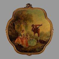 Antique Romantic Print in Unique Wood Frame