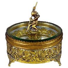 Vintage Gold Ormolu and Beveled Glass Dresser Box with Cherub