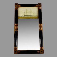 Antique Federal Style Mirror with Eglomise Whaling Ship