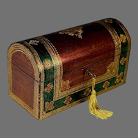 Vintage Florentine Domed Hinged Box with Working Key