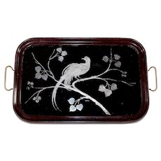 Vintage Sterling Silver Inlay Wood Serving Kitchen Tray Peacock