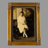 Vintage Gilt Wood Photo Frame with Easel and Photo
