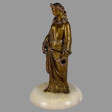 Great Grand Tour Bronze Sculpture of a Roman Lady on Marble Base