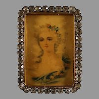 Antique Miniature Painting on Pith Paper with 24K Gold Plated and Rhinestone Frame