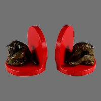 Vintage Colorful Bronze Clad Bookends Sitting Dogs