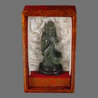 Vintage Spinach Jade Green Nephrite Guan Yin Carving in box