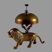 Antique Brass Desk Bell Lion Base