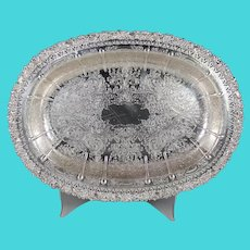 Antique Barker Ellis Silver plate Tray Dish Reticulated Cast Border