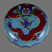 Antique Chinese Blue Cloisonne Round Box with Dragon